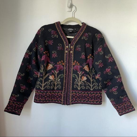 Icelandic Design Sweaters - Icelandic Design Black Floral Knit Cardigan Zip Up